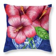 Hibiscus In Glass Vase Throw Pillow