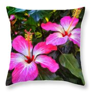 Hibiscus Flowers Throw Pillow