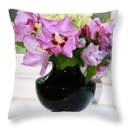 Hibiscus And Hydrangea Flower Throw Pillow