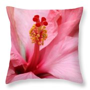 Hibiscus Flower Close Up Throw Pillow