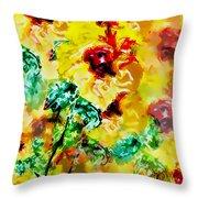 Hibiscus Impressionist Throw Pillow
