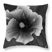Hibiscus In Black And White Throw Pillow