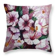 Hibiscus Pink 3  Throw Pillow