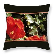 Hibiscus Red Throw Pillow