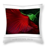 Hibiscus Red Poster Throw Pillow
