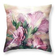 Hibiscus Sky - Pastel Pink Tones Throw Pillow