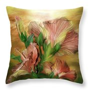 Hibiscus Sky - Peach And Yellow Tones Throw Pillow