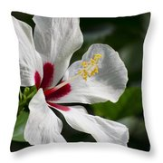 Hibiscus White Wings Throw Pillow