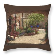 Hidden Garden Villa Di Camigliano Tuscany Throw Pillow