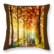 Hidden Path - Palette Knife Oil Painting On Canvas By Leonid Afremov Throw Pillow