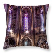 High Altar And Stained Glass Windows  Throw Pillow