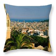 High Angle View Of A City, Barcelona Throw Pillow