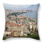 High Angle View Of A City, Naples Throw Pillow