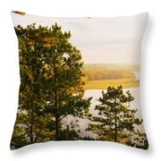 High Angle View Of A River, Ausable Throw Pillow