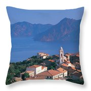 High Angle View Of A Town At The Coast Throw Pillow