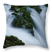 High Angle View Of A Waterfall, Sol Duc Throw Pillow