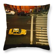 High Angle View Of Cars At A Zebra Throw Pillow