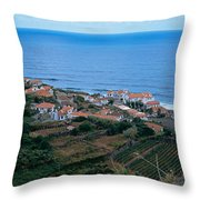 High Angle View Of Houses At A Coast Throw Pillow