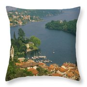 High Angle View Of Houses Throw Pillow