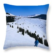 High Angle View Of Skiers Skiing, Vail Throw Pillow