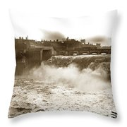 High Falls On The Genesee River Rochester New York At Flood Stage Circa 1904 Throw Pillow