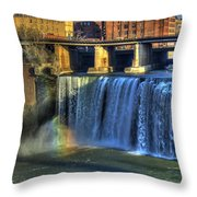 High Falls Rainbow Throw Pillow