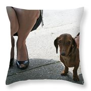 High Heels And A Dachsund Throw Pillow
