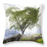 High In The Clouds Throw Pillow by Debra and Dave Vanderlaan