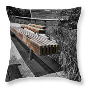 High Line Benches Black And White Throw Pillow