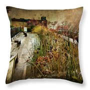 High Line Park In The Rain New York Throw Pillow