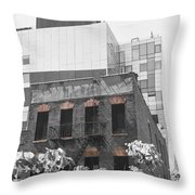 High Line View Of Architecture Black And White Throw Pillow