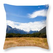 High Peaks Of Eglinton Valley In Fjordland Np Nz Throw Pillow