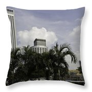 High Rise Buildings Behind Trees Along With Construction Work In Singapore Throw Pillow
