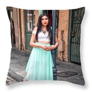 High School Senior Portrait French Quarter New Orleans Throw Pillow