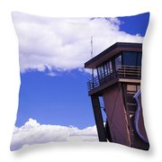 High Section View Of Railroad Tower Throw Pillow