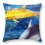 High Tech Dolphins Throw Pillow by Thomas J Herring