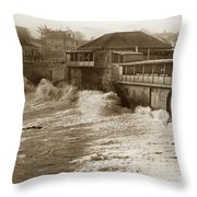 High Tide And Big Waves At Lovers Point Beach Pacific Grove California Circa 1907 Throw Pillow