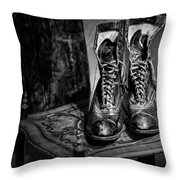 High Top Shoes - Bw Throw Pillow