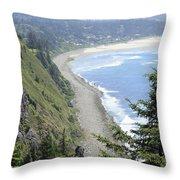 High View Of Oregon Coast Throw Pillow