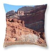 High Wall Of Red Cliffs Throw Pillow