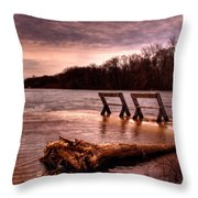 High Water On The Wolf River Throw Pillow