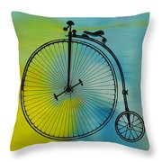 High Wheel Bicycle Throw Pillow