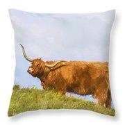 Highland Cow Watercolour Throw Pillow