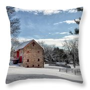 Highland Farms In The Snow Throw Pillow