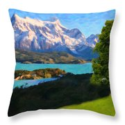 Highlands Of Chile  Lago Pehoe In Torres Del Paine Chile Throw Pillow