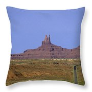 Highway 163 Leading Into Monument Valley With Rock Formations In Throw Pillow