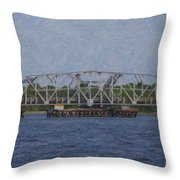 Highway 41 Swing Bridge Over The Wando River Throw Pillow
