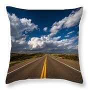 Highway Life - Blue Sky Down The Road In Oklahoma Throw Pillow