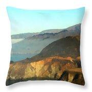 Highway One Bixby Bridge Watercolor Throw Pillow