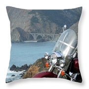 Highway One Harley Throw Pillow
